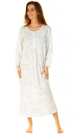 La Marquise Cherry Blossom Long Sleeve Long Length Nightdress