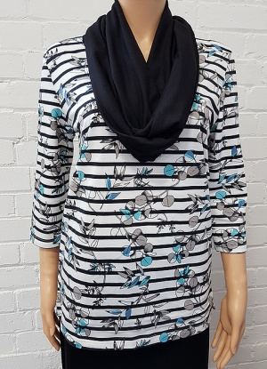 Claudia C Stripe And Floral Print Tunic