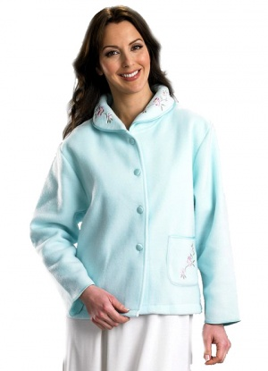 Slenderella Embroidered Button Up Bed Jacket
