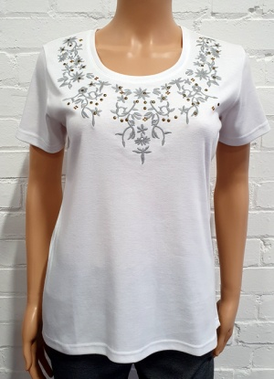 Claudia C Round Neck Embroidered T-shirt