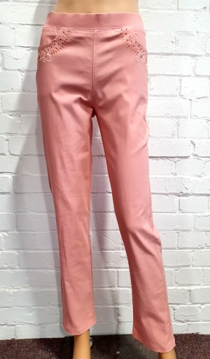 Claudia C Peach Stretch Trouser
