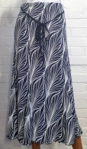 Claudia C 6 Panel Leaf Print Skirt