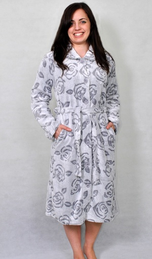 Soft And Cosy Floral Button Fleece Housecoat