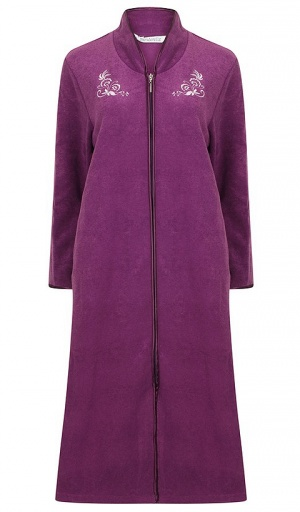 Slenderella Fleece Embroidered Zip Housecoat