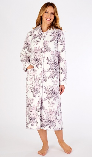 Slenderella Floral Print Fleece Button Housecoat