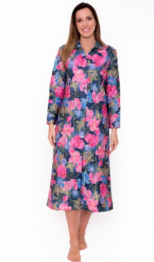 Full length Quilted Leaf Floral Housecoat