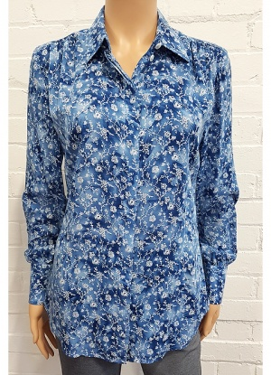 Double Two Blue Floral Print Blouse