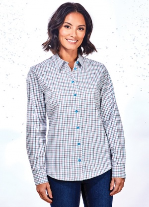 Double Two Classic Check Long Sleeve Blouse