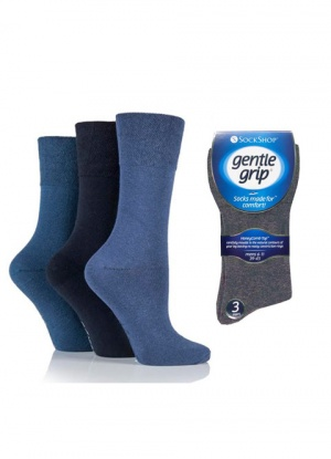 Mens 3 Pack Gentle Grip Plain Mixed Blue Socks