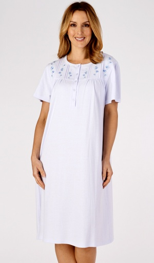 Slenderella Embroidered Short Sleeve Nightdress