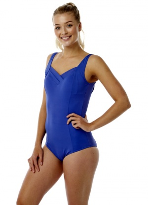 Oyster Bay Blue Plain Pleat Front Swimsuit