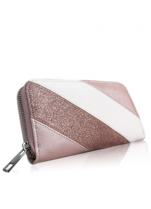 Diagonal Stripe and Glitter Purse