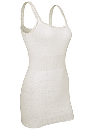 White Swan Long French Neck Thermal Vest