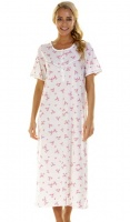 La Marquise Pink Blossom Short Sleeve Full Length Nightdress