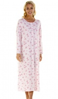 La Marquise Pink Blossom Long Sleeve Full Length Nightdress
