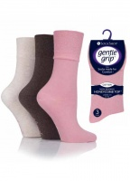 3 pair pack Gentle Grip Socks in Coral, Coffee, Sand
