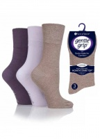 3 pair pack Gentle Grip Socks in Mauve, Lilac, Mocha