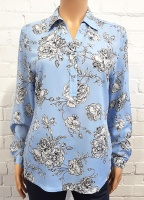 Double Two Light Blue Rose Blouse