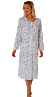 Marlon Button Through Long Sleeve Nightdress
