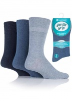 Mens 3 Pack Gentle Grip Diabetic Socks Blue Shades