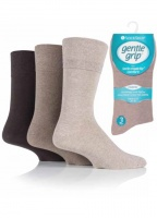 Mens 3 Pack Gentle Grip Diabetic Socks Brown Shades
